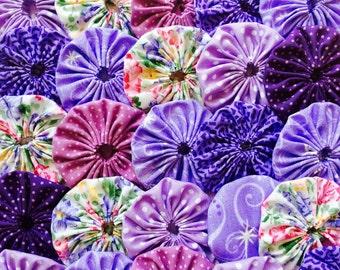 Fabric Flower Applique 50 Yo Yo PURPLE FLORAL  1  1/2 Inch  Barrette Headband Hair Clip Trim