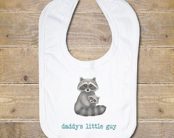 Baby Bib, Baby Bib Set, Burp Cloth, Baby Shower Gift, New Baby Gift, Personalized Baby Bib, Daddy Little Boy, Raccoons, Woodland Creatures