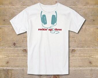 Third Birthday Shirt, Three Shirt, Third Birthday Outfit, 3rd Birthday Shirt, Boy's Clothes, Boy's Shirt, Trendy Shirt, Birthday Gift, Cool
