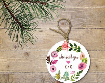 Engagement Christmas Ornament, First Christmas Together, Engagement Gift, Our First Christmas, New Bride, Bridal Shower Gift, Initials