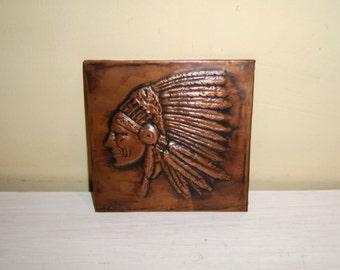 INDIAN CHIEF Profile Portrait Headdress Copper Art American Western Culture Relic old vintage antique