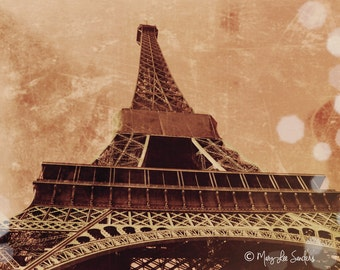 Eiffel tower sepia photo of Paris travel perfect for that statement wall