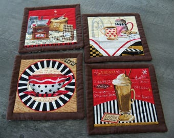 Coasters Coffee Perks Handmade Diner Style Designs Trivets Mug Rugs Set of Four
