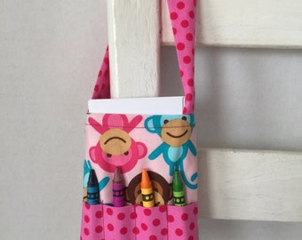 Reduced Pink Monkeys Small Crayon Bag Polka Dots Coloring Tote Kids Travel Idea Crayon Roll Toddler Gift