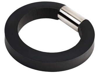 black rubber bangle, edgy fashion, industrial jewellery