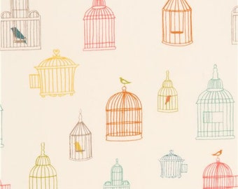 209353 light cream colorful bird cage silhouette organic fabric by birch from the USA