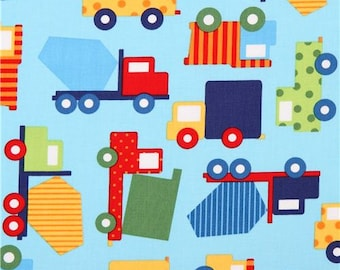 192632 light blue truck construction vehicle car fabric Robert Kaufman Ready Set Go 2