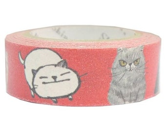 210849 red cute and funny cat Banana Paper Washi Masking Tape deco tape