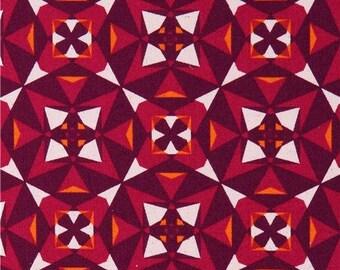 205723 dark purple pink-red Canvas fabric triangle octogon shape Kokka Japan
