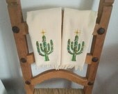 RESERVED for Brianna --- Embroidered CACTUS Christmas Tree Fingertip Towel
