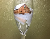 Custom Pair of Wedding Toasting Flutes Hand Painted