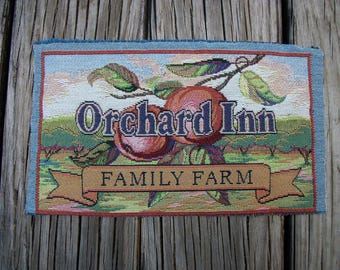 "Scrap Salvaged Tapestry Fabric ""Orchard Inn Family Farm"" Piece of Fabric Remnant Country Farmhouse Sign Fabric Seed Pack Sign"