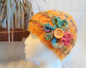 Ready to Ship. Marigold Orange. Striped Handspun Cable Hat. Cantaloupe Orange. Snow Hat. Optional Flower. Merino Wool Hat. Beanies for Women