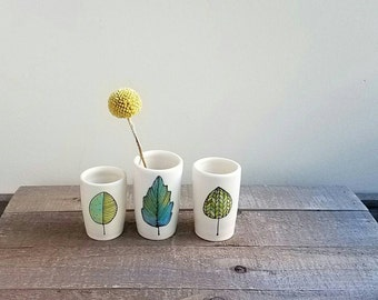 Leaf vase, set of three leaf vase, yellow, green and blue leaf, small ceramic vase, woodland home decor, fall leaf design.