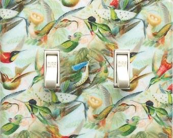 Any format of Hummingbird plates w/ MATCHING SCREWS- Double switchplate rocker switch hummingbird switch cover bird art prints Haeckel print