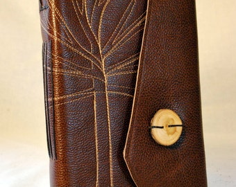 Large Brown Leather Tree Journal with Recycled Paper