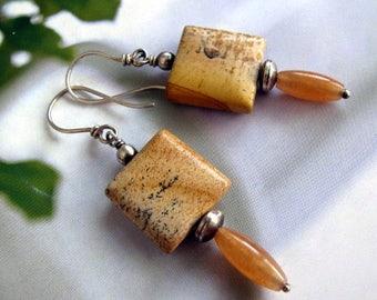 Jasper Earrings, Sterling Silver Earrings, Picture Jasper and Carnelian Earrings, Handmade Dangle Earrings