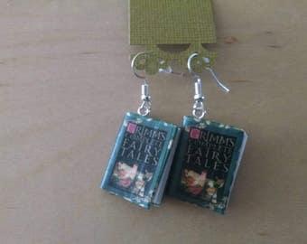 Mini Grimm's Fairy Tales Book Earrings - Book Jewelry - Handmade Book Earrings - Mini Book Jewelry - Handmade Mini Book Earrings