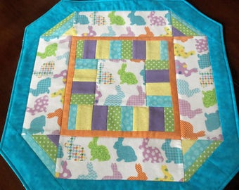 Easter Table Topper, Bunny Parade Table Topper, Spring Table Quilt, Spring Colors, Yellow,Orchid, Turquoise, Green, Orange, Quiltsy Handmade