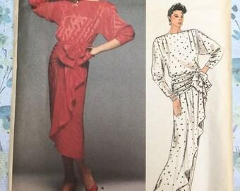 Vogue 1510 Kasper Cocktail Dress American Designer Vintage Sewing Pattern Misses Size 14 UNCUT