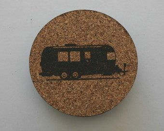 Airstream RV Cork Coasters Set of 4 Coasters Etched Travel Trailer