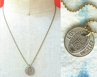 Vintage Los Angeles Streetcar Token Necklace // DTLA // L.A. Love