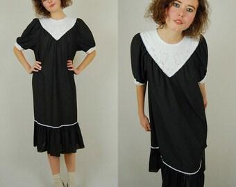 Polka Dot Dress Vintage 70s Black Polka Dot Hippie Boho Tent Dress (s m l)