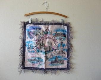 VINTAGE mid century salt lake city utah souvenir PILLOW COVER