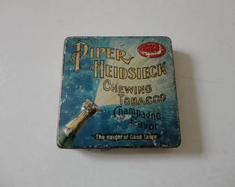 VINTAGE piper heidsieck chewing TOBACCO TIN