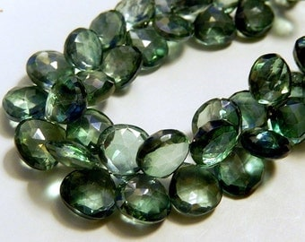 Mystic Quartz Gemstone.  Semi Precious Gemstone Bead. Mystic Green Heart Briolette.   2 Gemstone Briolette Beads. 9.5mm (aqzg1).