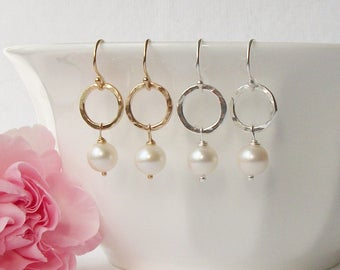 Pearl Earrings, Handmade Freshwater Pearl Earrings