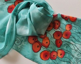 Hand Painted Silk Scarf - Handpainted Scarves Aqua Turquoise Blue Jade Teal Poppies Poppy Red Orange Peach Floral