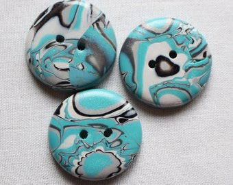 Large Turquoise, Grey and Black Buttons No.200