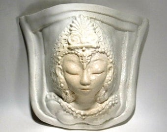 White Tara Wall Pocket Folk Face Sculpture Ceramic Porcelain Pottery Buddhist Garden Art Planter Sconce Vessel Spiritual Gift