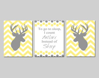 Deer Nursery Wall Art Deer Nursery Decor Chevron Deer Nursery Art Deer To Go To Sleep, I Count Antlers Instead of Sheep - CHOOSE YOUR COLORS