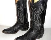 Rios of Mercedes Cowboy Boots Vintage Black Leather Ostrich Leg Mens Size 9 D