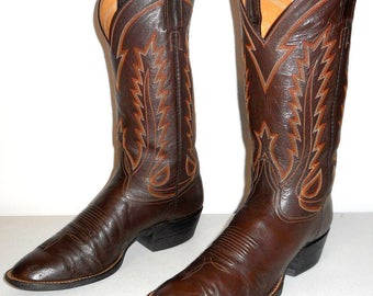 Laramie Cowboy Boots Handmade Brown Leather 9.5 D Country Western Shoes Urban