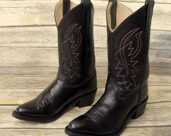 Black Cowboy Boots Mens Size 7 Red White Country Western Shoes Rockabilly Retro