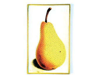 Golden Pear decoupage glass catch-all tray