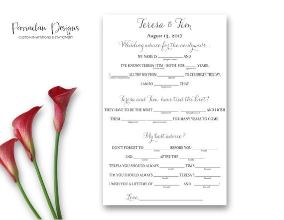 Wedding Mad Libs | Wedding Advice Cards | Mad Libs Wedding | Bride & Groom Advice Cards {FS01}