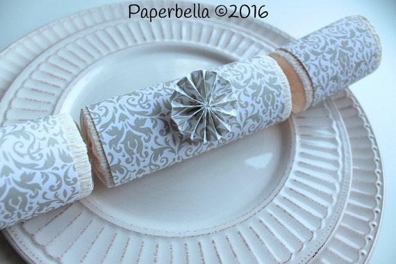 Fill Your Own Party Crackers Wedding Light Gray White Damask Party Popper, Personalize with Monogram and a Paper Rosette or Star Sequins