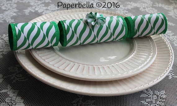 Fill Your Own Party Crackers Christmas Green White Swirls Party Popper, Personalize with Your Monogram and a Paper Rosette Star Sequins