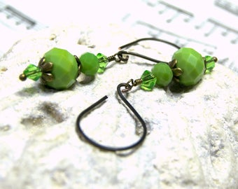 ON SALE Green Earrings Short Czech Dangle Earrings Gifts for Women Shaded Spruce Green gifts for her gift for friend