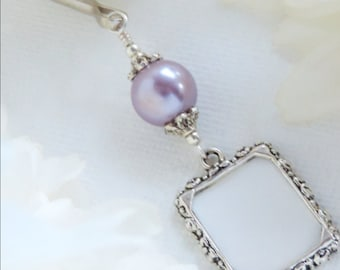 Wedding bouquet photo charm. Lavender pearl wedding Memorial photo charm. Memory charm. Bridal bouquet charm. Gift for the bride to be.