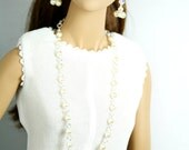 """Beautiful Long-strand Pearl Necklace with Matching Earrings. Fits 16"""" tall doll."""