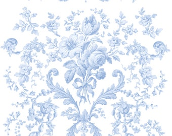 Shabby Chic Fabric - Faded Rococo White By Lilyoake - White and Blue Vintage Floral Cotton Fabric By The Yard With Spoonflower
