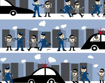 Cop and Burgler Fabric - Police Heros Say Crime Doesn'T Pay A Caper Chase By Vo_Aka_Virginiao - Law Enforcement Fabric With Spoonflower