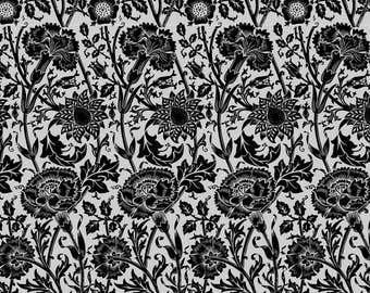 Black Floral Fabric - Pinks And Roses (Black) By Studiofibonacci - Black Cottage Chic Cotton Fabric By The Yard With Spoonflower