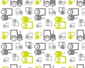 Gray and Green Tractors Fabric - Tractors By Newmomdesigns - Baby Boy Gray Tractors Nursery Decor Cotton Fabric By The Yard With Spoonflower