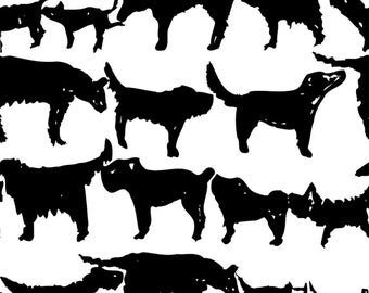 Black + White Dogs Fabric - Dogs By Kimthings - Dog Stripe Cotton Fabric By The Yard With Spoonflower